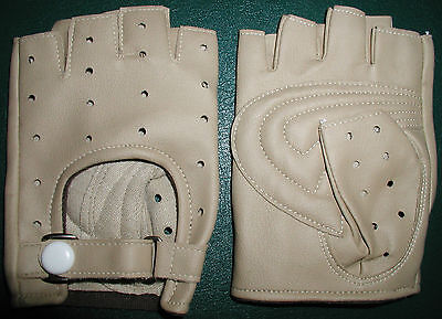 Vintage Leather Bicycle Gloves, Snap Closure, Sm.,perforated, Japan, Free/sh