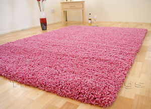 SMALL - EXTRA LARGE SIZE THICK 5cm PILE PLAIN MODERN NON-SHED SOFT SHAGGY RUG