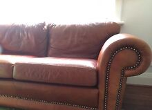 Brown/red leather sofa with Chesterfield studs Wembley Cambridge Area Preview