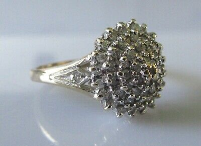 Secondhand 9ct yellow gold multi diamond (0.33pts) round cluster ring size I