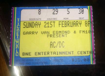 1988 AC/DC concert ticket