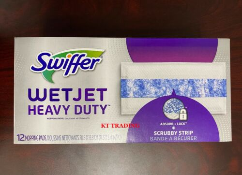 Swiffer WETJET Heavy Duty Hard Floor Mopping Refill Pads w/ Scrubby Strip ~12 Ct