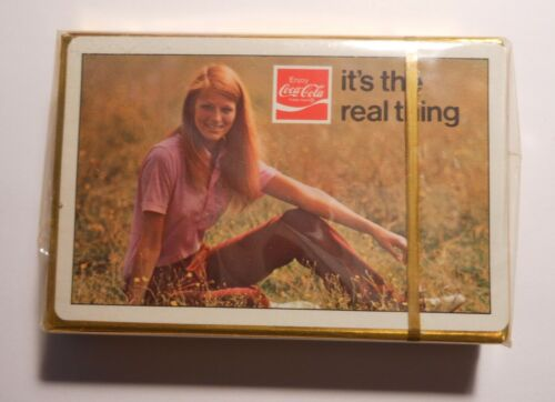 """Vintage Coca Cola 1971 """"Girl in the field"""" Sealed Deck of Playing Cards"""