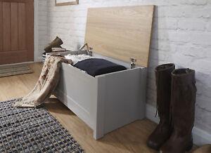 Grey Oak Ottoman Storage Chest Toy Chest or Blanket Bedding Box Safety Hinge