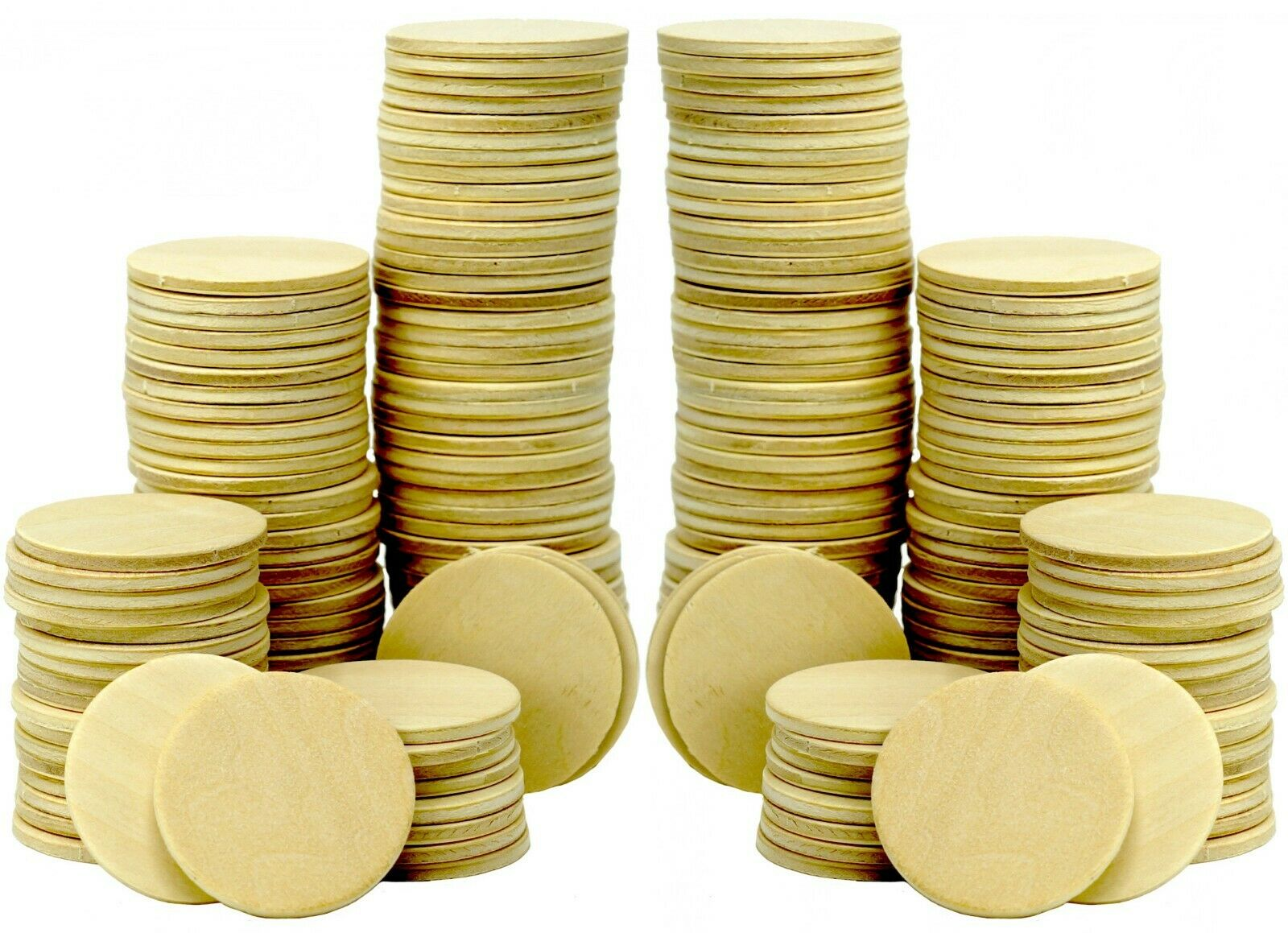 200 Pack -1.5 Inch Round Wood Cutout Circle Chips for Crafts, Games, Ornaments Crafting Pieces