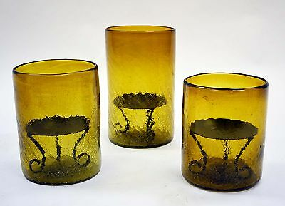 Set of 3, Crackled Amber Glass Hurricane Lamps, with Pillar (Amber Crackle Hurricane Lamp)