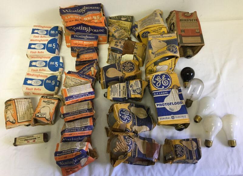 Vintage Photoflood Bulbs, Flash Bulbs, Light Bulbs ~ Lot of 54 ~GE, WESTINGHOUSE
