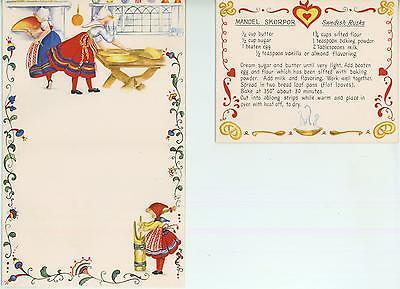 VINTAGE BUTTER CHURN SWEDISH RUSKS RECIPE 1 TEA POT OCEAN BED BREAKFAST ART CARD