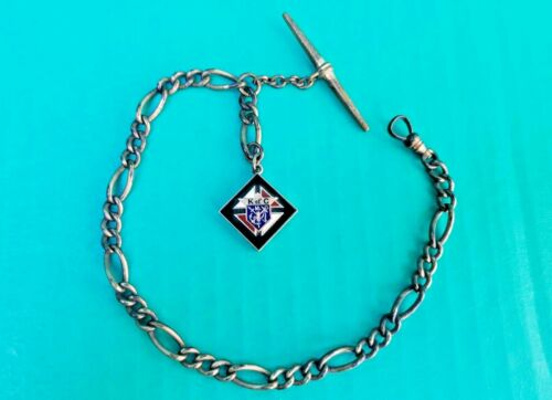 Antique Knights of Columbus Fraternal T Bar Watch Chain Gold Filled Enamel Fob