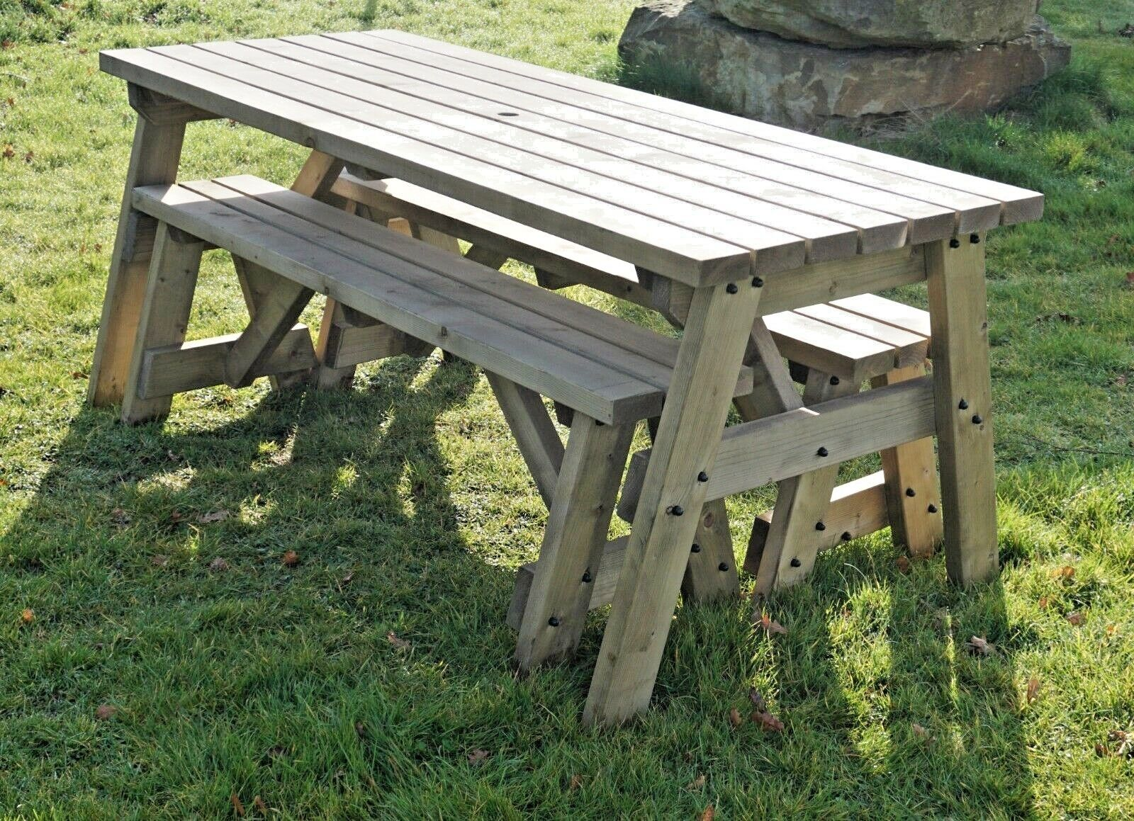 Details about V-TORIA Compact Picnic Table Bench Set - 8FT to 8FT - Garden  Furniture
