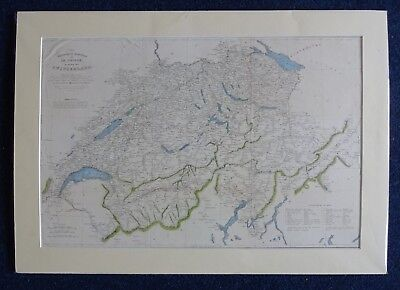 c1836 Engraving: Map of Switzerland: Hand Coloured Highlighting & Mounted
