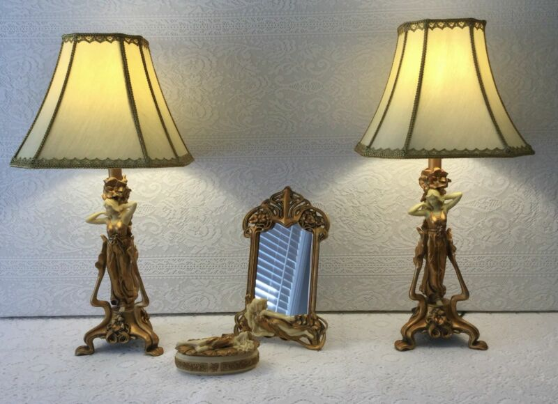 Pair of Art Deco Vintage Lamps, Trinket Box and Mirror | Table ...