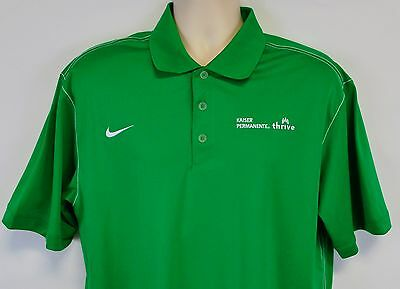 Nike Golf Mens L Kaiser Permanente Thrive Shirt  Green Dri Fit Polo Embroidered