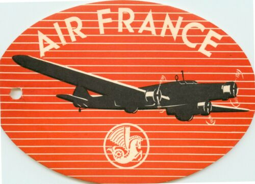 AIR FRANCE - Scarce and Unique Old (TAG STYLED) Airline Luggage Label, 1937