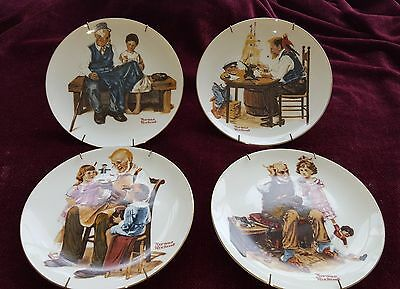 Beloved Classics NORMAN ROCKWELL 1982 Set of FOUR (4) Plates Limited Edition