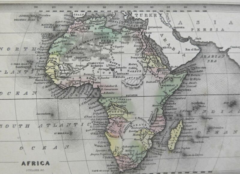 Africa continent Mts. of the Moon Donga Cape Colony Egypt Congo 1832 Yeager map