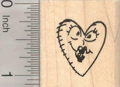 Heart Shaped Face Rubber Stamp, Valentine D20518 WM](Heart Valentine)