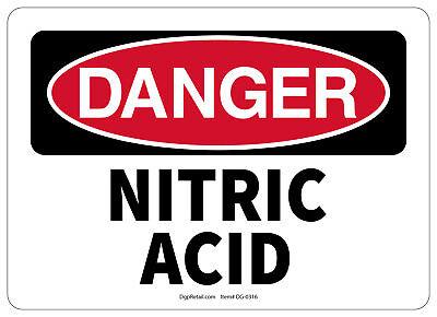 Osha Danger Safety Sign Nitric Acid