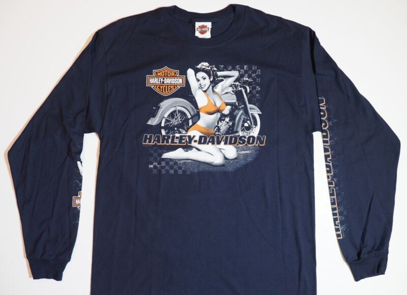 Harley-Davidson T-Shirt Biker Short Sleeve Man Woman Tel-Aviv Israel Blue