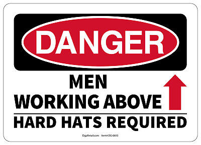 Osha Danger Safety Sign Men Working Above Hard Hats Required