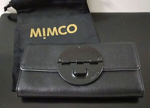 Genuine MIMCO Black Matte Large Turnlock Wallet Leather Purse Mim Love New