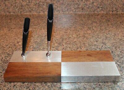 Vintage PARKER Desktop Pen Holder Mid Century Harlequin Steel & Wood Accessory