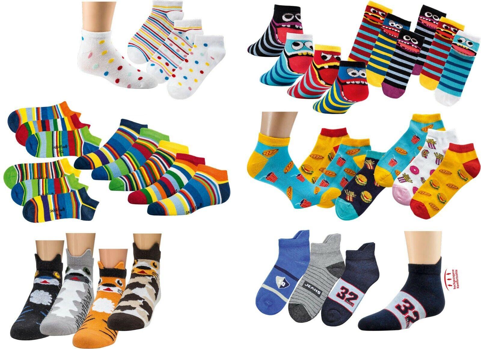 3 Paar Kinder Jungen Mädchen Computer Sneaker-Socken Sneakers Gr. 23/26-39/42