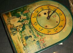 Rare Irving Miller Antique Wall Clock with Decorative Face