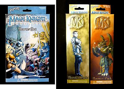 Wizkids Mage Knight Rebellion Starter Set & 2 Booster Packs New Amricons .