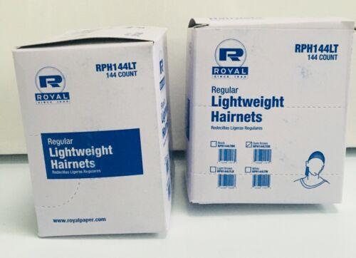 2x ROYAL REGULAR Lightweight HAIRNETS Dark Brown RPH144LT 144/ Box