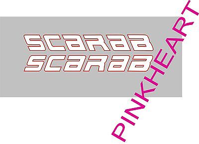 2- SCARAB white red decals vinyl sticker 18'' x 2'' scarab boat boats decal USA