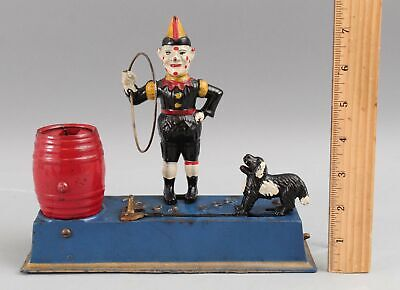 Antique 1920s Hubley Painted Cast Iron TRICK DOG, Mechanical Bank, No Reserve!