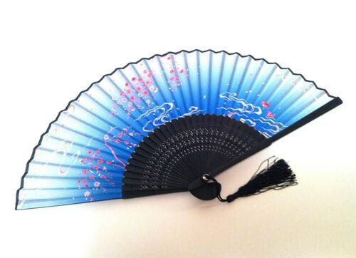 Bamboo Silk Hand Fan Fandfan in Cherry Blossom and Mandarin duck desig Blue