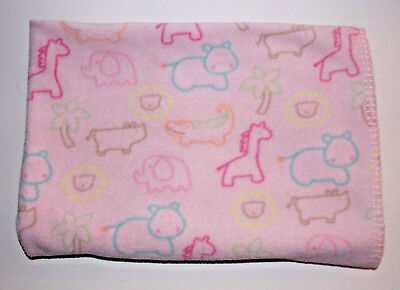 Circo Pink Animal Blanket 40x30 Girls Baby Security Lovey Giraffe Hippo Lion