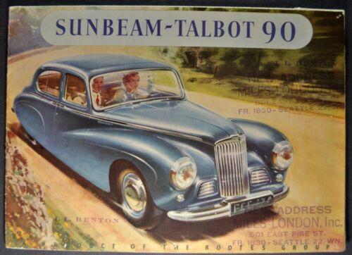 1951-1952 Sunbeam Talbot 90 Brochure Sports Saloon, Convertible Nice Original