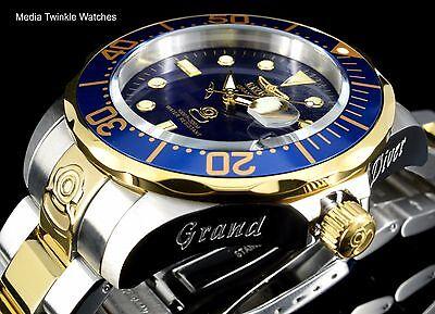 Invicta 47mm Grand Diver AUTOMATIC Blue Dial Gold Tone Silver Bracelet Watch