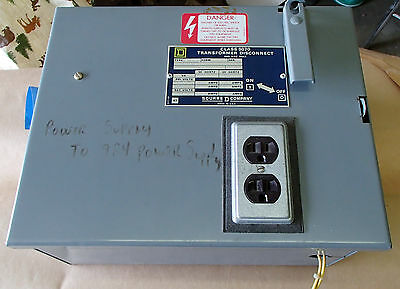 Square D Electrical 9070 Power Supply Transformer Disconnect Switch Box Sk5271v