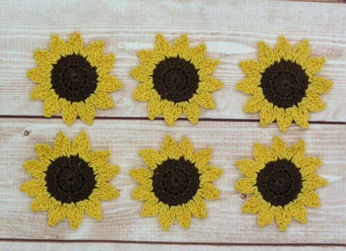 Crochet Flower Small Sunflower Applique Embellishment Brown Yellow 6 Pcs