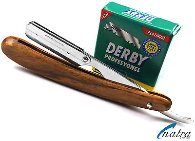 Holz Rasiermesser + 100 Derby Rasierklingen Rasierer Rasur Razor NATRA Rasiermesser