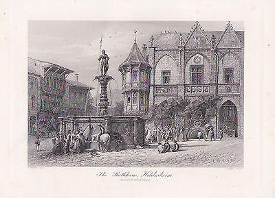 Hildesheim Marktplatz Rolandbrunnen STAHLSTICH um 1860