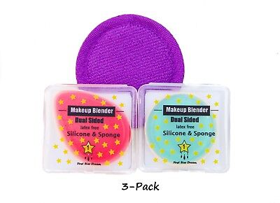 2 in 1 Makeup Beuty Blender Silicone and Sponge (3pack) Bonus Face Scrub Round F