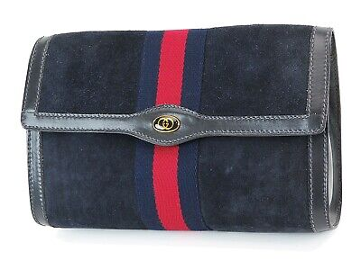 Auth Vintage GUCCI Blue Suede and Leather Cosmetics Bag Clutch Pouch #36860