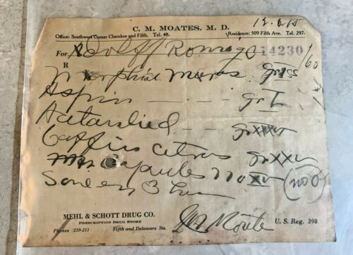 Antique 1900s Handwritten Morphine Prescription Ephemera Pharmacy Leavenworth KS