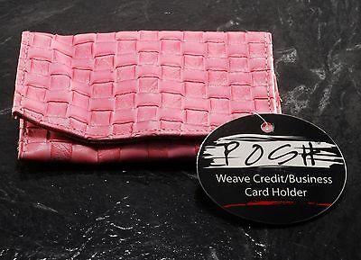New Posh Brand Weave Credit Business Card Holder Faux Leather Nwt Pink