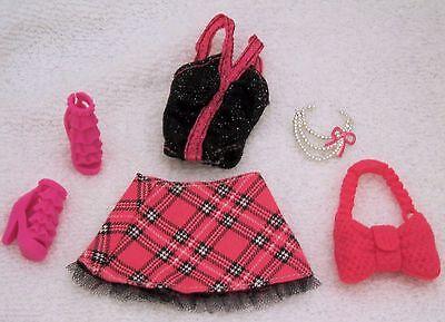 Barbie  Skirt Set, Shoes, Necklace, Purse  - Genuine Mattel Items