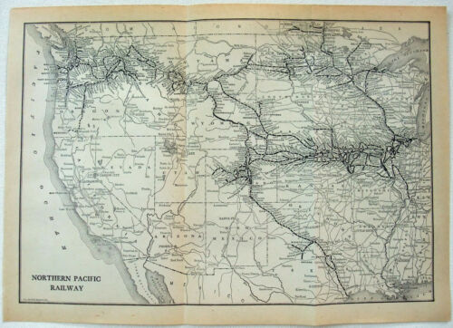 Northern Pacific Railroad - Original 1912 System Map. Antique