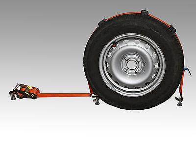 4x Spanngurt AUTO TRANSPORT Zurrgurt Radsicherung PKW Trailer KFZ Reifengurt (15
