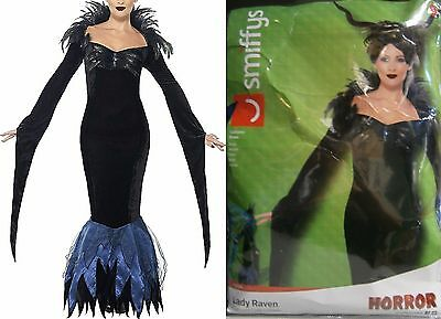 SEXY LADY RAVEN HALLOWEEN COSTUME MORTICIA  HORROR WOMENS SMALL 6 - 8](Black Raven Halloween Costume)
