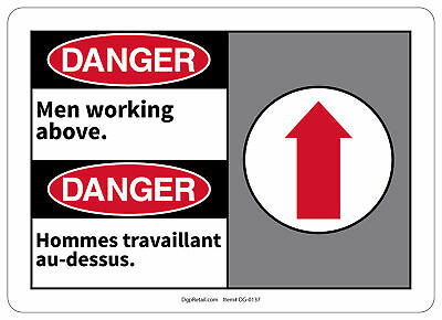 Osha Danger Safety Sign Men Working Above Bilingual French