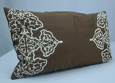 """Brown Dupioni Silk Ivory Embroidered 19"""" Oblong Toss Pillow w/ Feather Insert"""